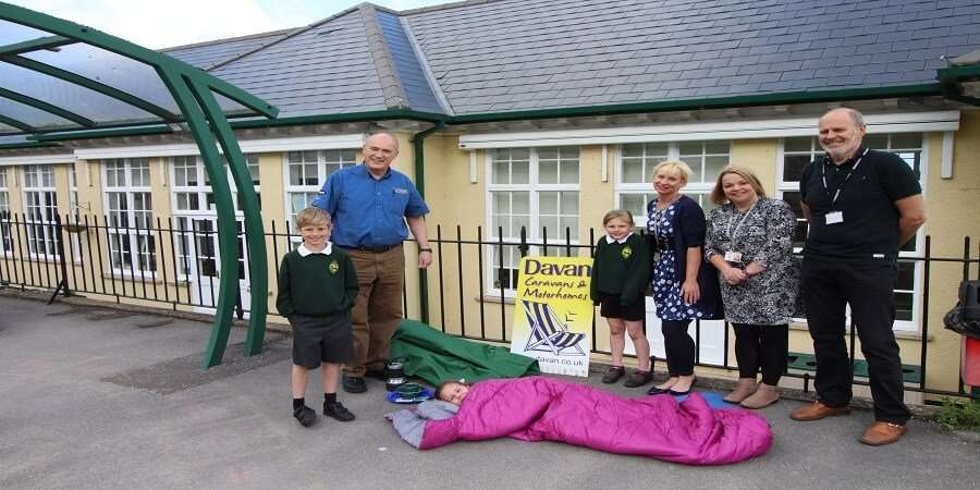 Davan Caravans Ltd Donating Camping Supplies to Banwell Primary School