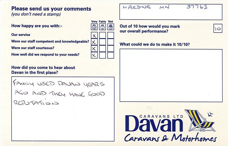 Davan Customer Testimonials Harding