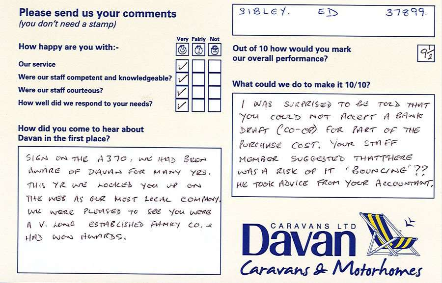 Davan Customer Testimonials Sibley