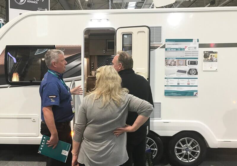 Richard selling a caravan